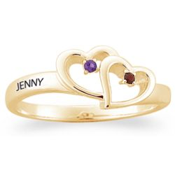 Gold Over Sterling Couple's Joined Hearts Ring