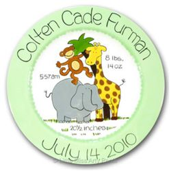 Personalized Birth Announcement Zoo Animals Plate