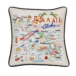 Hand Embroidered Hawaii Accent Pillow