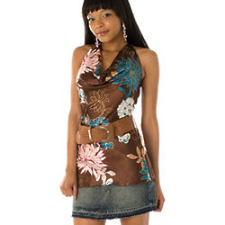 Mua Satin Floral Halter Top with Belt