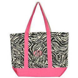 Personalized Zebra and Creme Tote