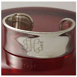Sterling Silver Personalized Wide Concave Cuff Bracelet