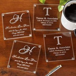 Personalized Business Address Glass Coaster Set