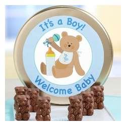 Welcome Baby Milk Chocolate Teddy Bears Tin
