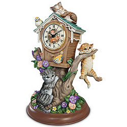 Timeless Tails Tabletop Kitten Clock