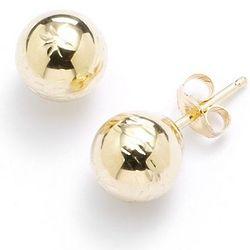 14 Karat Gold Diamond-Cut Ball Stud Earrings