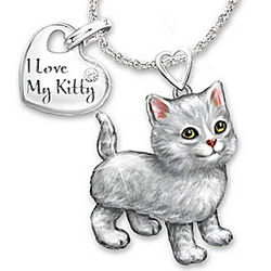 Grey Tabby Frisky Kitty Diamond Pendant Necklace