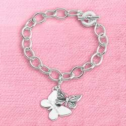 Butterfly Charm Bracelet with Toggle Closure