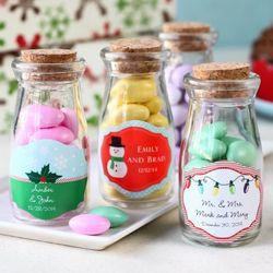 Holiday Personalized Vintage Milk Jars