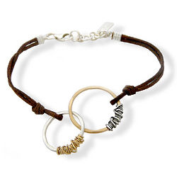 Silver and Gold Eternity Circles Leather Bracelet