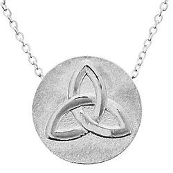 Trinity Knot Silver Plated Disk Necklace