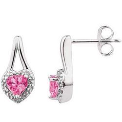 Pink Topaz and Diamonds Heart Shape Earrings in White Gold