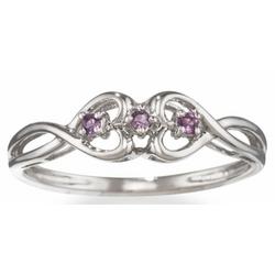Amethyst Double Heart Promise Ring In 14k Gold Findgift Com