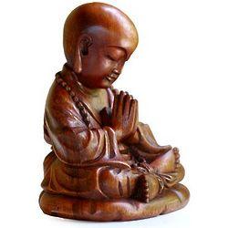 Little Buddha Praying Wood Sculpture