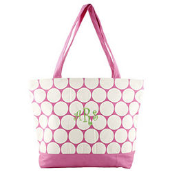 Personalized Canvas Polka Dot Tote