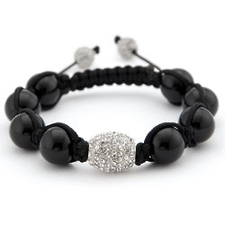 Black Onyx and Crystal Pave' Shamballa Bracelet