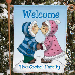 Personalized Eskimo Couple Garden Flag
