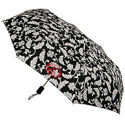 Personalized Black and White Floral Umbrella