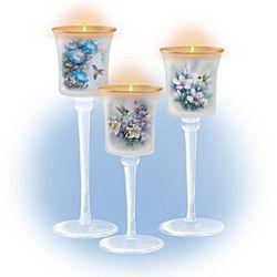 Lena Liu Floral Hand-Blown Glass Candleholder Set