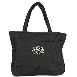 Personalized Black Quilted Office Tote