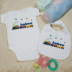 Personalized All Aboard Baby Train Creeper and Bib Gift Set