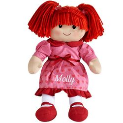Personalized Valentine Caucasian Redhead Rag Doll