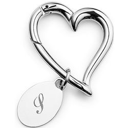 Silver Heart Keychain with Charm