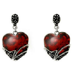 Vintage Style Heart Marcasite Earrings