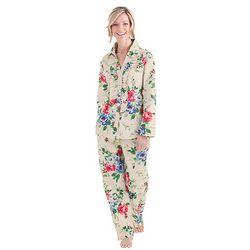 Cotton Sateen Antique Rose Ruffled Pajamas