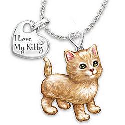 Orange Tabby Frisky Kitty Diamond Pendant Necklace