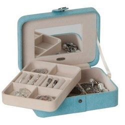Plush Fabric Jewelry Box with Lift Out Tray