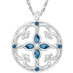 Daughter's Infinite Blessings Topaz Pendant Necklace