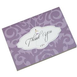 Damask Wedding Gown Thank You Cards