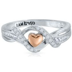 I Am Loved Diamond Heart Ring in Sterling Silver & 14 Karat Gold