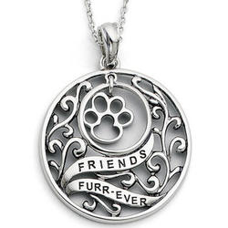 Friends Furr-ever Sterling Silver Dog Paw Pendant