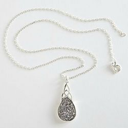 Irish Celtic Knot Druzy Necklace