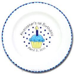 Personalized 1st Birthday Cupcake Signature Plate