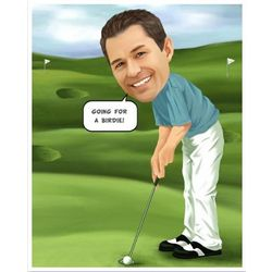 Golfer Caricature Print from Photo