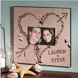 Personalized Heart in the Sand Photo Frame