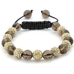 Smoky Quartz and Crystal Shamballa Bracelet