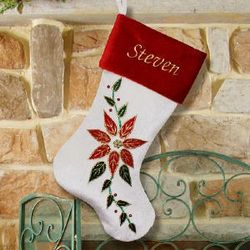 Personalized Embroidered Poinsettia Christmas Stocking