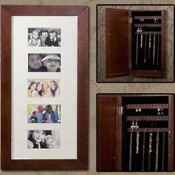 Cherry Photo Display Wall Mount Jewelry Armoire