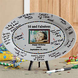 Happy Birthday Personalized Signature Photo Platter