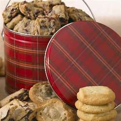 Gourmet Cookies in Red Plaid Gift Pail