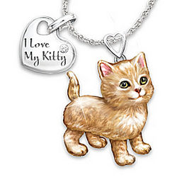 Frisky Kitty Diamond Pendant Necklace