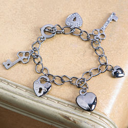 Vintage Keys to My Heart Charm Bracelet