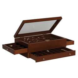 Camden Glass Top Wooden Jewelry Box with Antique Walnut Finish