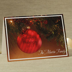 Personalized Red Ornament Christmas Cards