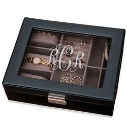 Personalized Monogram Black Jewelry Box