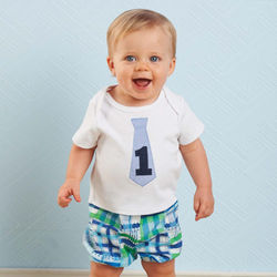 I'm One Tie Shirt and Plaid Diaper Cover Set